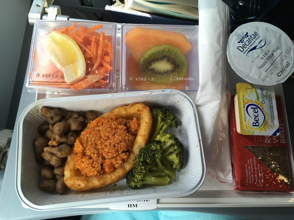 Vegetarisches Essen auf dem Air Berlin Flug