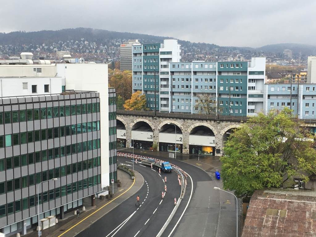 Ausblick vom FREITAG-Tower auf das alte Viadukt